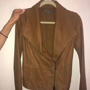 VINCE Scuba Brown Leather Jacket WORN 4 TIMES